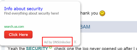 Ad by DNS Unlocker expanding from a keyword