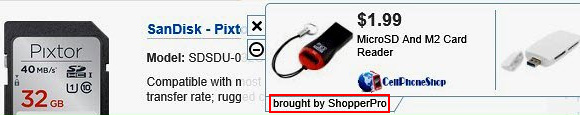 Ads by ShopperPro in a web page