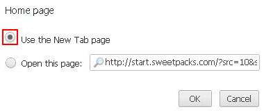 Pick Use the New Tab page option