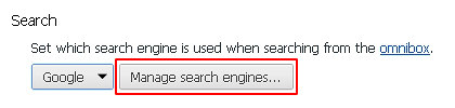 Click Manage search engines