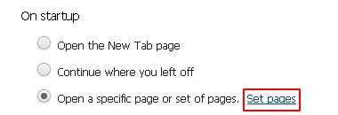 Click on Set pages button