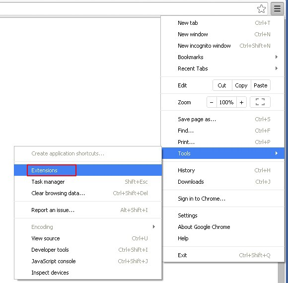 Enter Extensions interface in Chrome