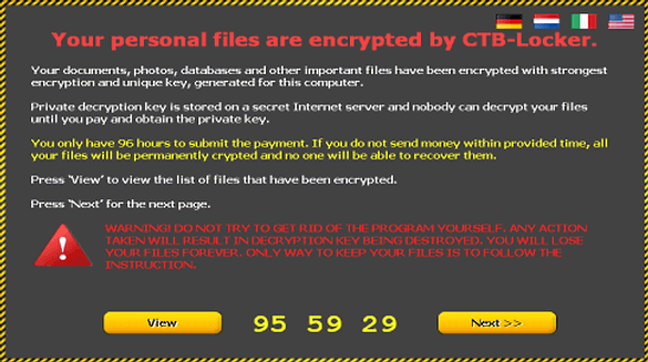 Warning screen generated by CTB Locker ransomware