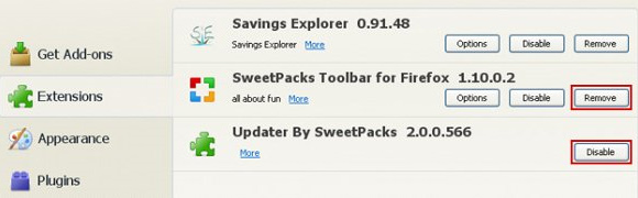 Remove extensions related to Sweetpacks in Firefox