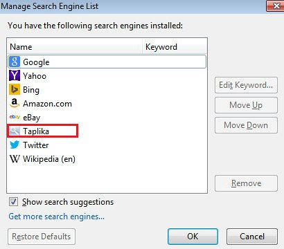Remove Taplika from Firefox search engines list