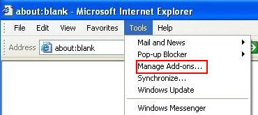 Manage Add-ons in IE