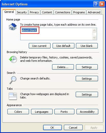 Define a correct home page for IE