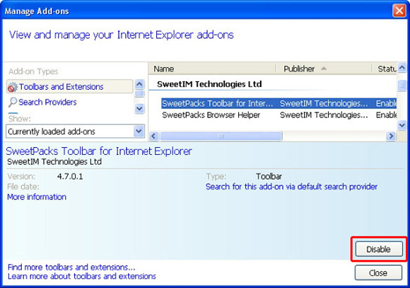 Disable Sweetpacks in IE toolbars and extensions