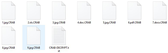 Inaccessible .CRAB files plus CRAB-DECRYPT.txt ransom note inside a folder