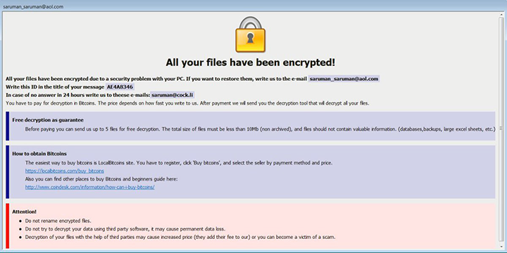 Ransom note left by the .Java ransomware