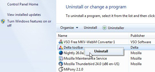 Uninstall Only Search related software