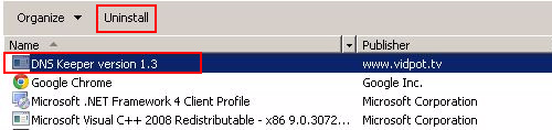 Uninstall DNS Keeper