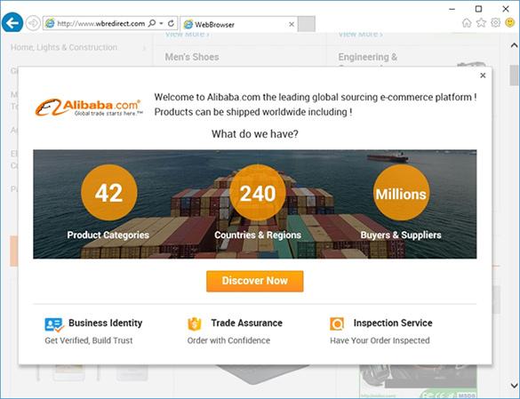 WBredirect.com resolving to an e-commerce site