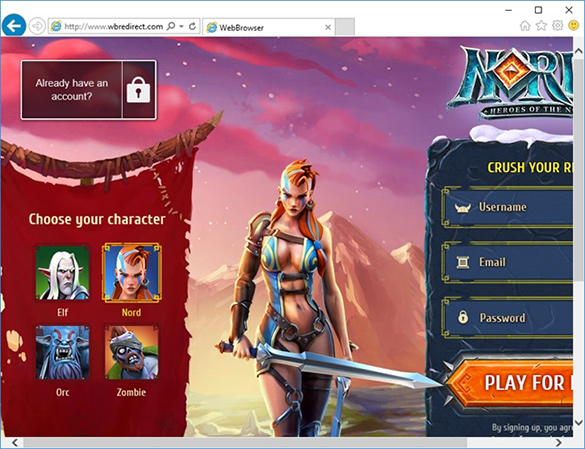 Online game propagated by the adware